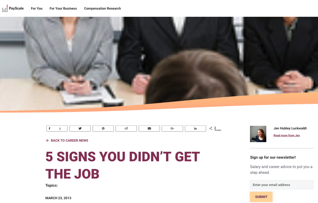 5 Signs You Didnt Get The Job
