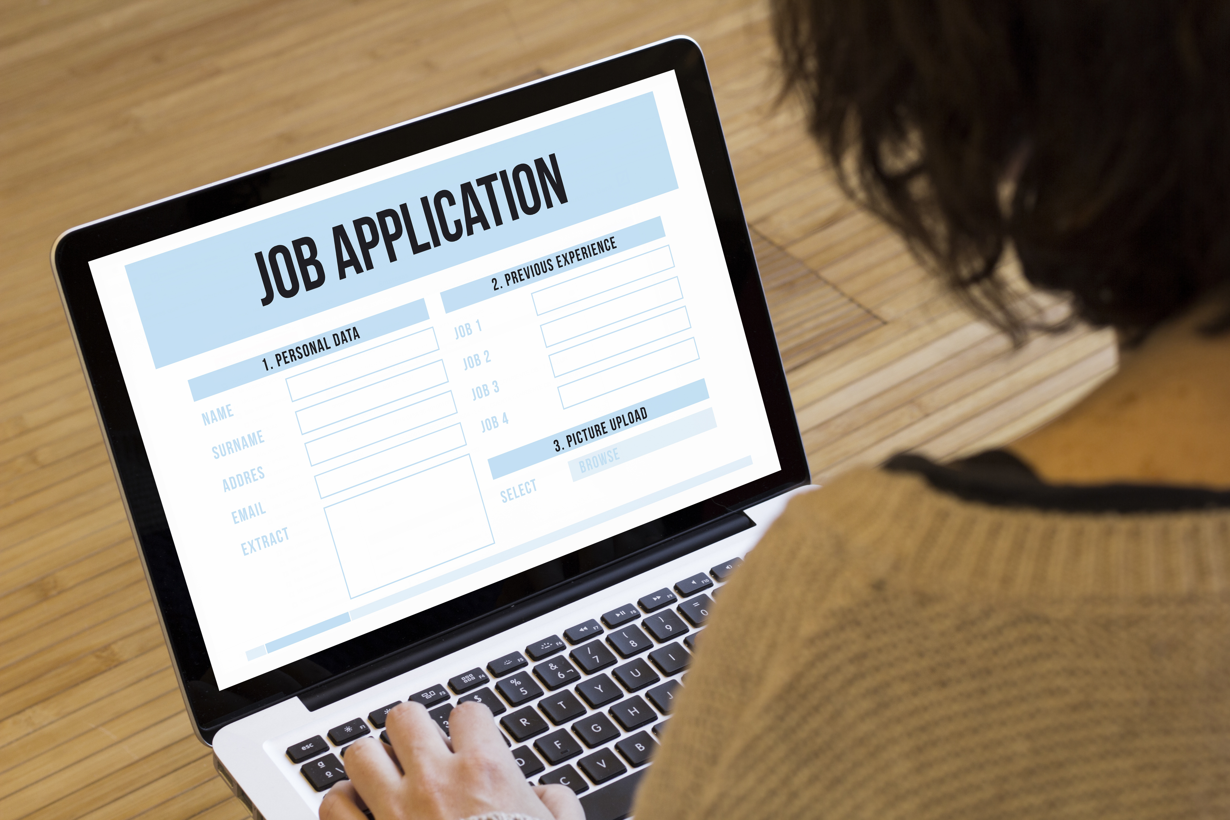 woman computer job application