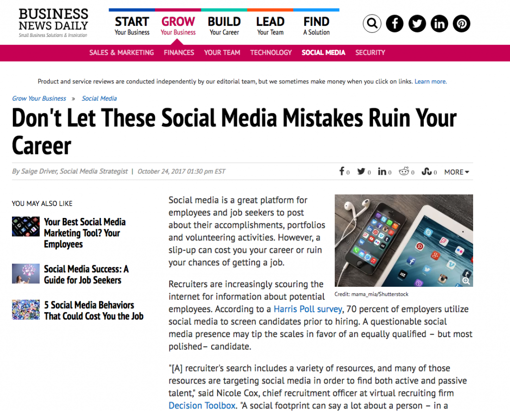 Business News Daily Social Media Mistakes