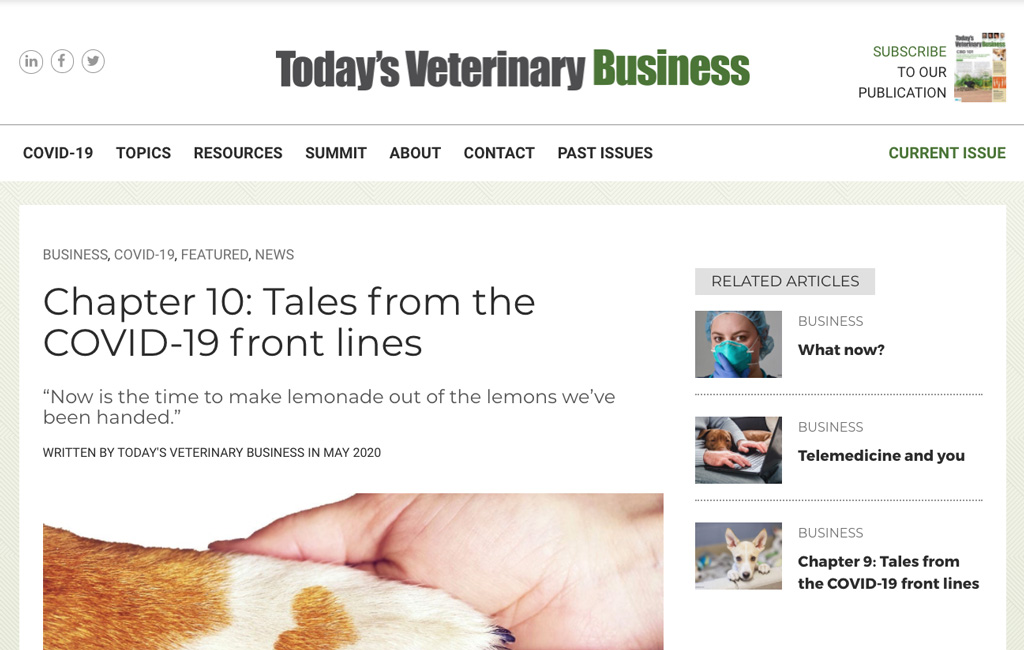 Todays Veterinary Business Ch 10 Covid 19 Frontlines Animal Health