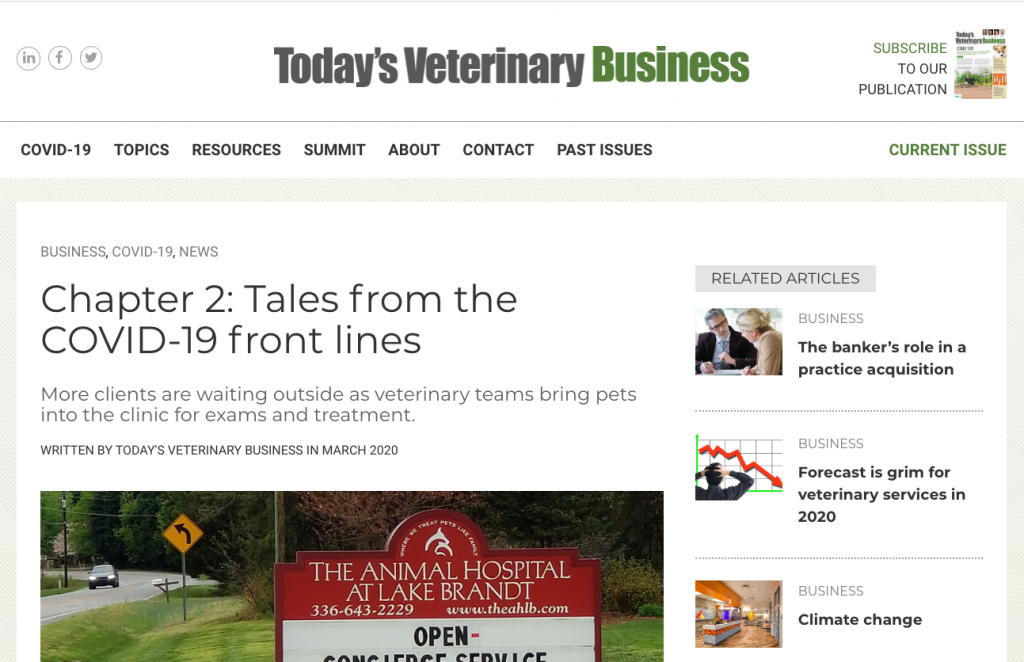 Todays Veterinary Business Chapter 2 Tales From Covid 19 Front Lines