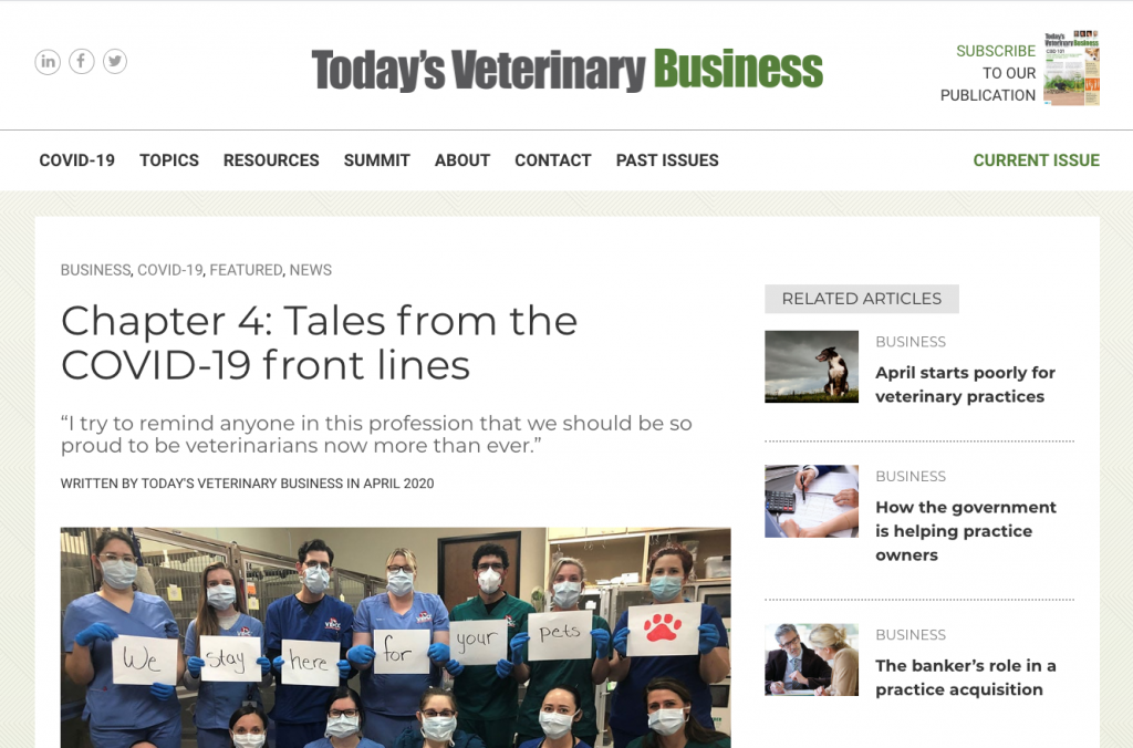 Todays Veterinary Business Chapter 4 Tales From Covid 19 Front Lines