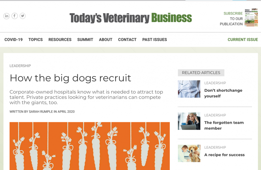 Todays Veterinary Business How The Big Dogs Recruit