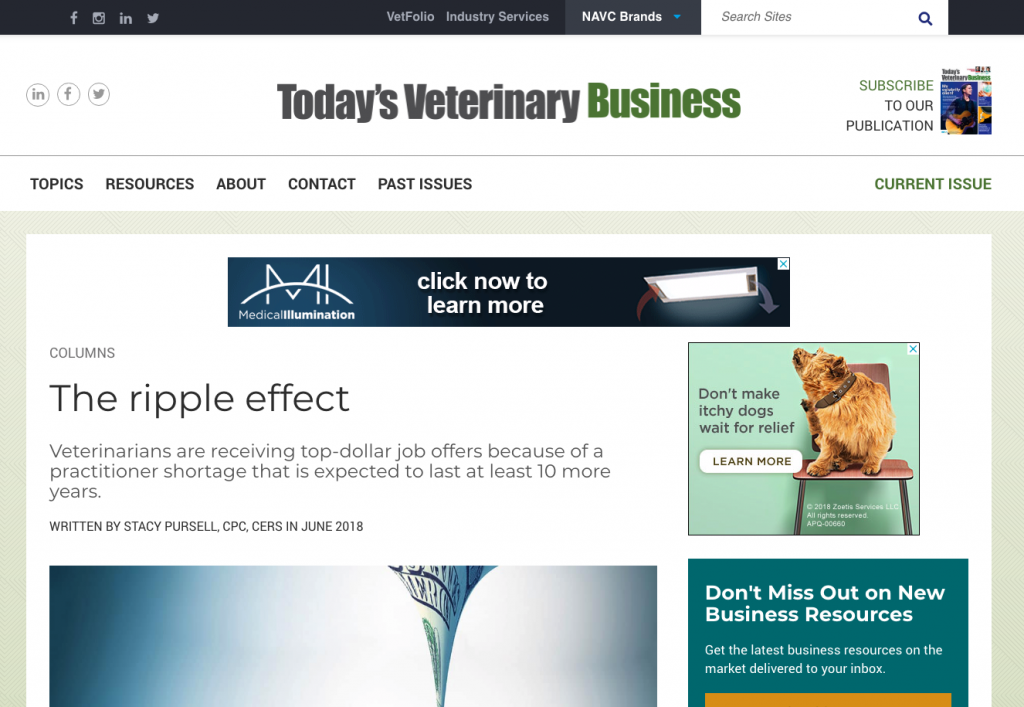 Veterinary Recruiter Todays Veterinary Business The Ripple Effect