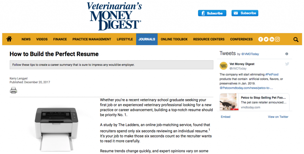 Veterinary Recruiter Veterinarians Money Digest Perfect Resume