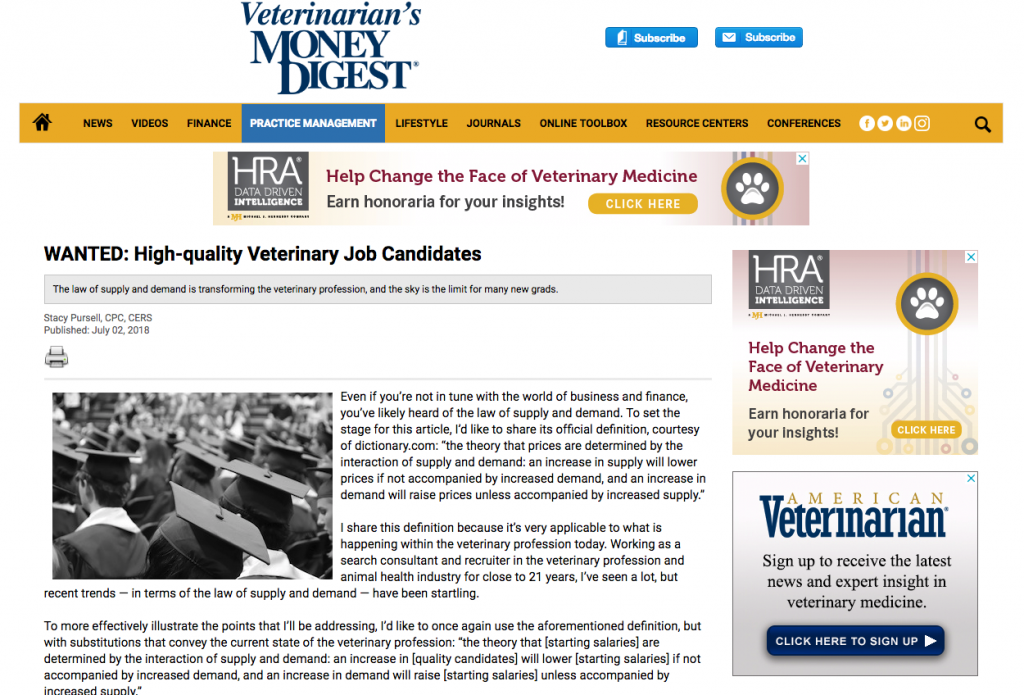 Veterinary Recruiter Veterinarians Money Digest Wanted